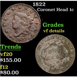 1822 Coronet Head Large Cent 1c Grades vf details