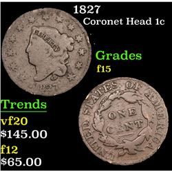 1827 Coronet Head Large Cent 1c Grades f+