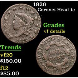 1826 Coronet Head Large Cent 1c Grades vf details