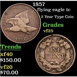 1857 Flying Eagle Cent 1c Grades vf+