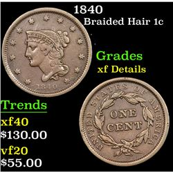 1840 Braided Hair Large Cent 1c Grades xf details