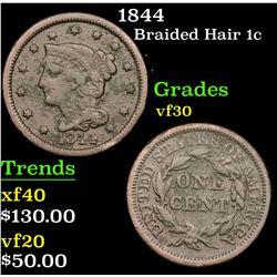 1844 Braided Hair Large Cent 1c Grades vf++