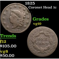 1825 Coronet Head Large Cent 1c Grades vg+