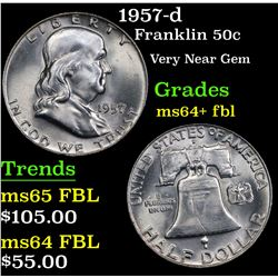 1957-d Franklin Half Dollar 50c Grades Choice Unc+ FBL