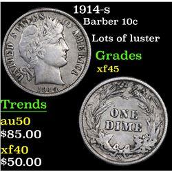 1914-s Barber Dime 10c Grades xf+
