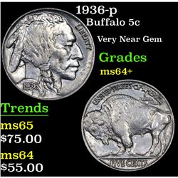 1936-p Buffalo Nickel 5c Grades Choice+ Unc