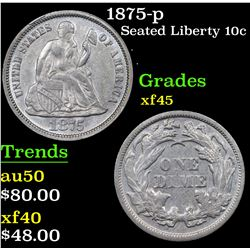 1875-p Seated Liberty Dime 10c Grades xf+