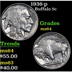 1936-p Buffalo Nickel 5c Grades Choice Unc