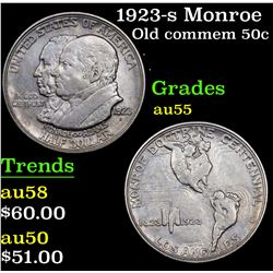 1923-s Monroe Old Commem Half Dollar 50c Grades Choice AU
