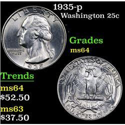 1935-p Washington Quarter 25c Grades Choice Unc