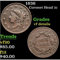 1836 Coronet Head Large Cent 1c Grades vf details