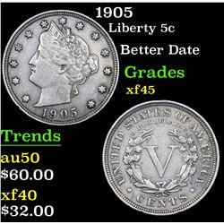 1905 Liberty Nickel 5c Grades xf+