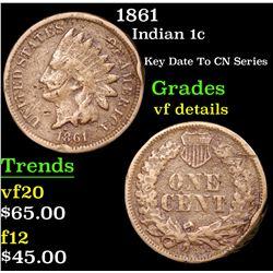 1861 Indian Cent 1c Grades vf details