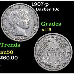 1907-p Barber Dime 10c Grades xf+