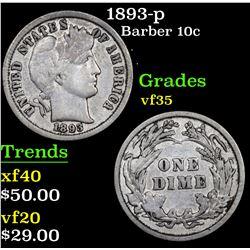 1893-p Barber Dime 10c Grades vf++
