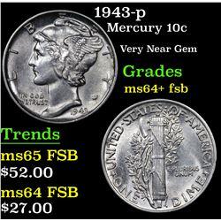 1943-p Mercury Dime 10c Grades Choice Unc+ FSB