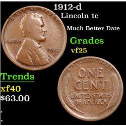 1912-d Lincoln Cent 1c Grades vf+