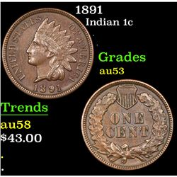 1891 Indian Cent 1c Grades Select AU