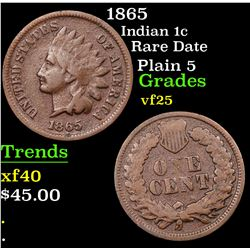 1865 Indian Cent 1c Grades vf+
