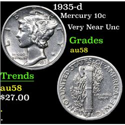 1935-d Mercury Dime 10c Grades Choice AU/BU Slider