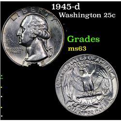 1945-d Washington Quarter 25c Grades Select Unc