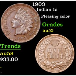 1903 Indian Cent 1c Grades Choice AU