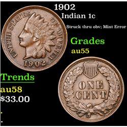 1902 Indian Cent 1c Grades Choice AU