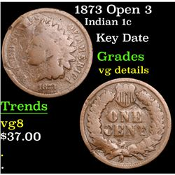 1873 Open 3 Indian Cent 1c Grades vg details