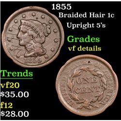 1855 Braided Hair Large Cent 1c Grades vf details