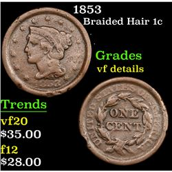 1853 Braided Hair Large Cent 1c Grades vf details