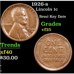 1926-s Lincoln Cent 1c Grades vf+
