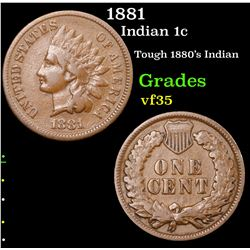1881 Indian Cent 1c Grades vf++