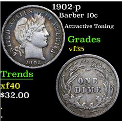 1902-p Barber Dime 10c Grades vf++