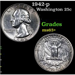 1942-p Washington Quarter 25c Grades Select+ Unc