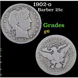 1902-o Barber Quarter 25c Grades g+
