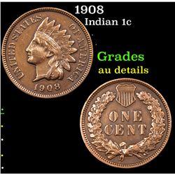 1908 Indian Cent 1c Grades AU Details