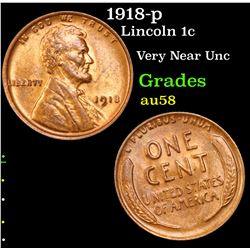 1918-p Lincoln Cent 1c Grades Choice AU/BU Slider