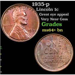 1935-p Lincoln Cent 1c Grades Choice+ Unc BN