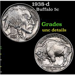 1938-d Buffalo Nickel 5c Grades Unc Details