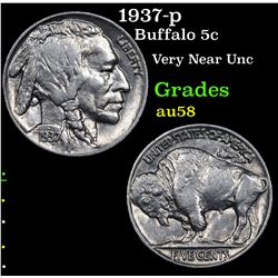 1937-p Buffalo Nickel 5c Grades Choice AU/BU Slider