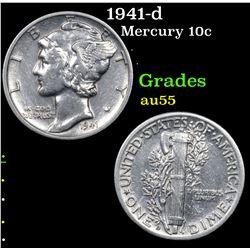 1941-d Mercury Dime 10c Grades Choice AU
