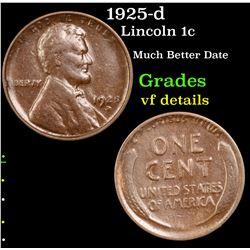 1925-d Lincoln Cent 1c Grades vf details