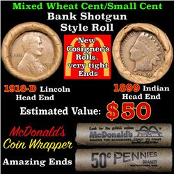 Mixed small cents 1c orig shotgun roll, 1918-d Wheat Cent, 1899 Indian Cent other end