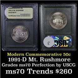 1991-d Mount Rushmore Modern Commem Half Dollar 50c Grades ms70, Perfection