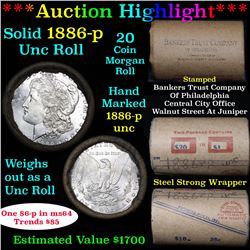 ***Auction Highlight*** Full UNCIRCULATED solid date 1886-p Morgan silver $1 roll, 20 coins   (fc)