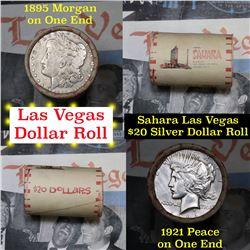 *Auction Highlight* Full Morgan/Peace Sahara Hotel silver $1 roll $20, 1921 Peace $1 & 1895 ends (fc