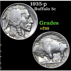 1935-p Buffalo Nickel 5c Grades vf++