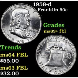 1958-d Franklin Half Dollar 50c Grades Select Unc+ FBL