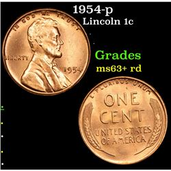1954-p Lincoln Cent 1c Grades Select+ Unc RD