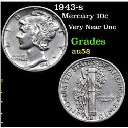 1943-s Mercury Dime 10c Grades Choice AU/BU Slider